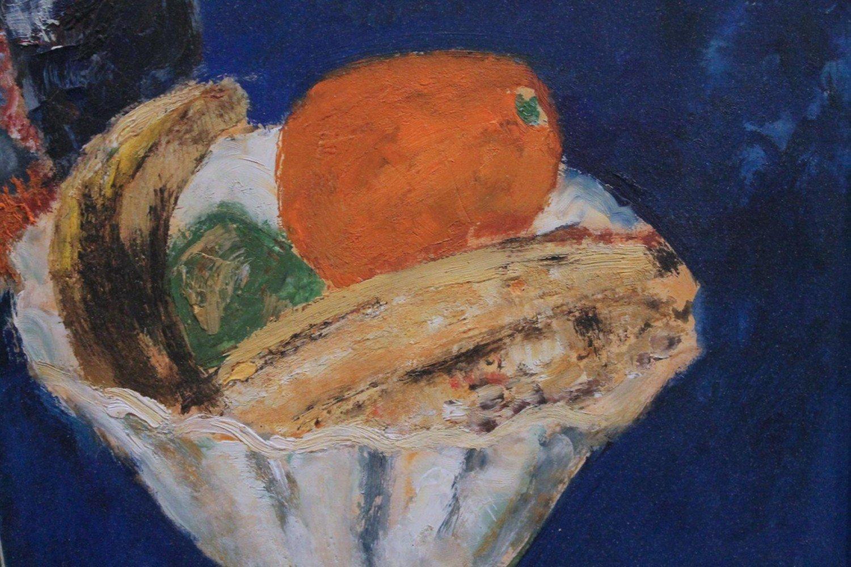 Still Life, Vase of Flowers, Bowl of Fruit, Knife by Guy Bardone