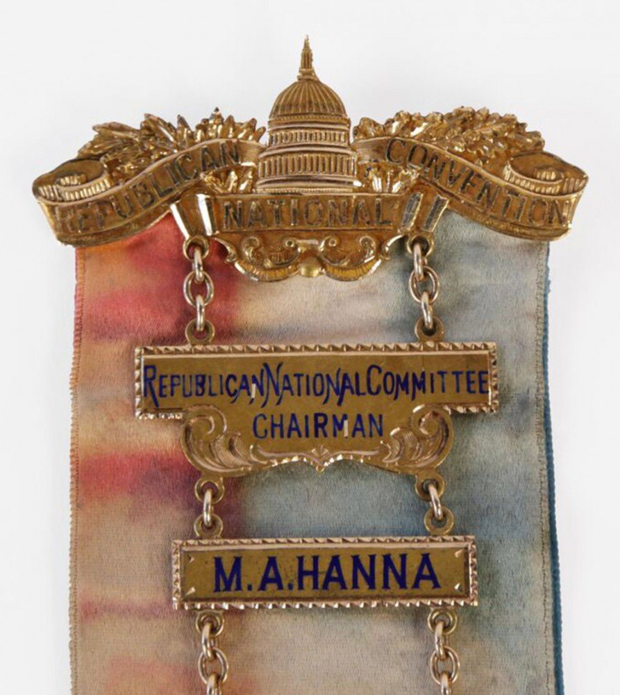 Mark Hanna's 14k yellow gold and enamel Chairman's badge for the Republican National Convention, Chicago, June 21-23, 1904