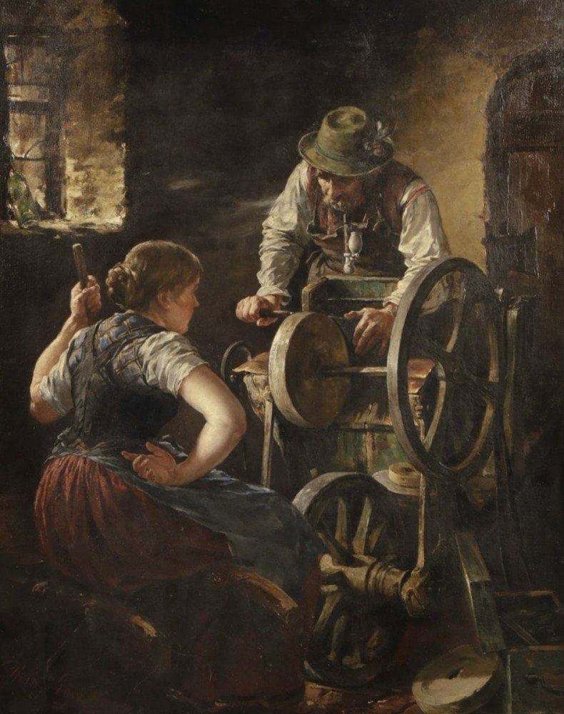 Sharpening Her Knife by Hans Pock