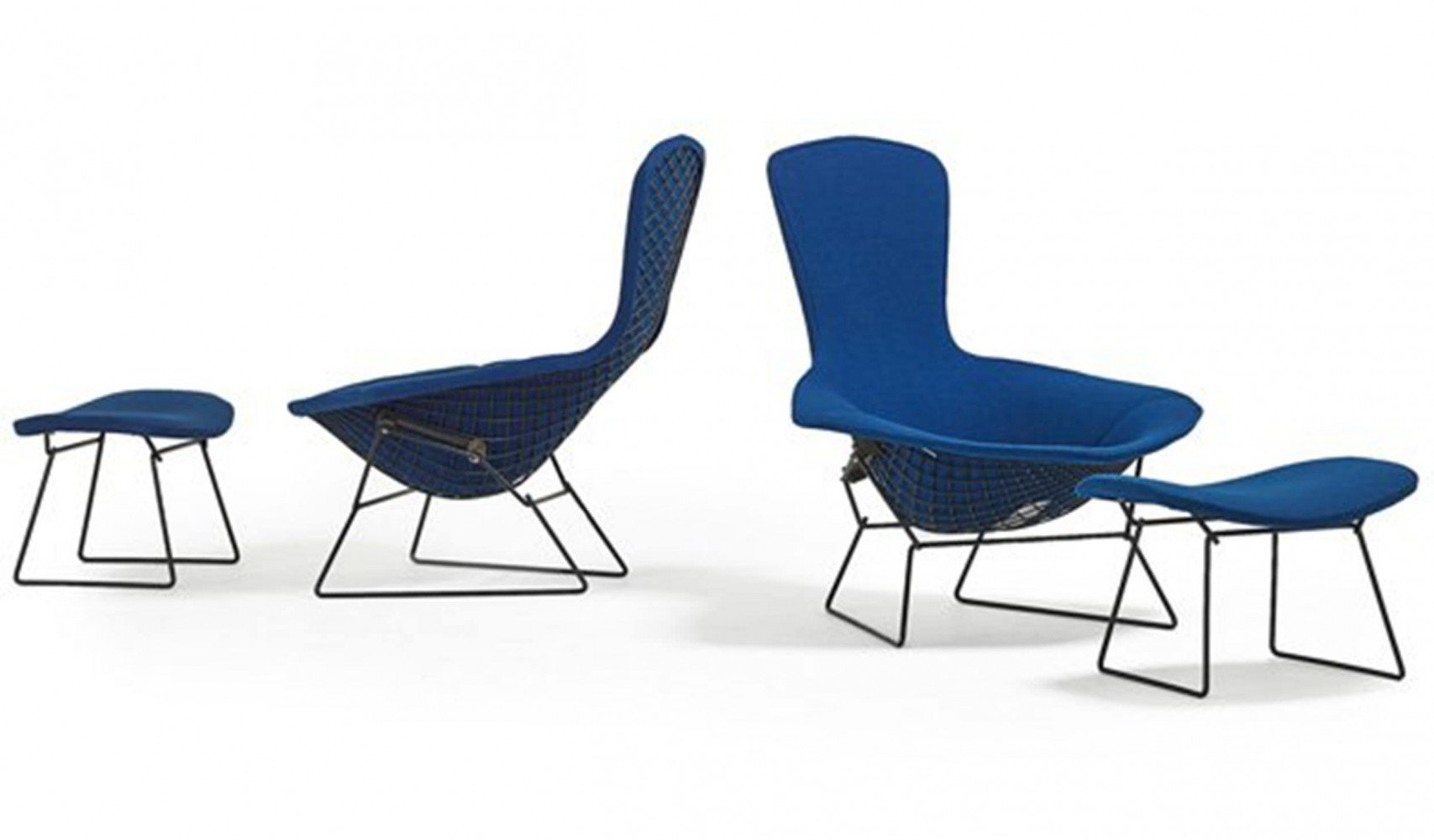 A Pair of Bird Chairs and Ottomans designed by Harry Bertoia