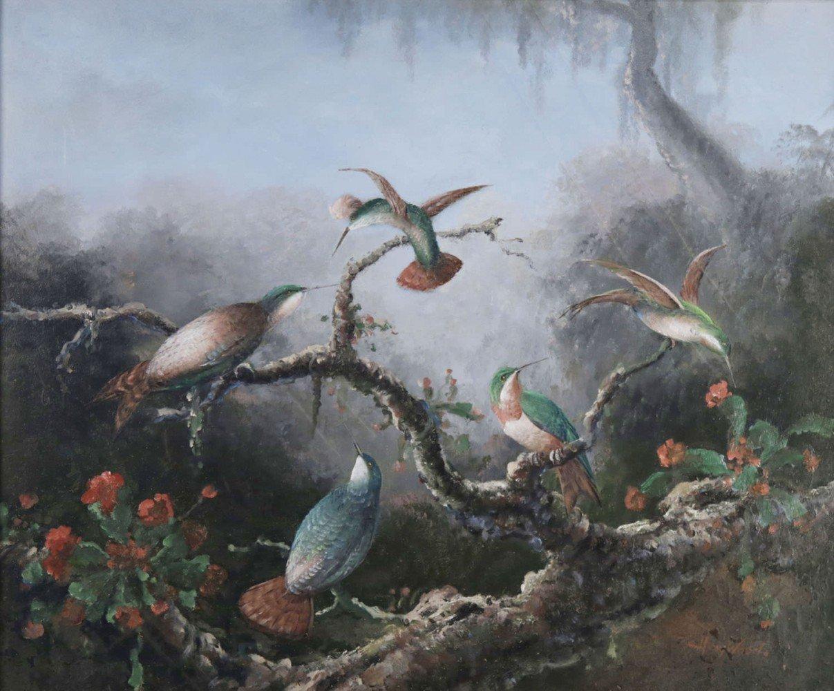 20thc. School, Hummingbirds in a Lush Landscape by 20th Century School