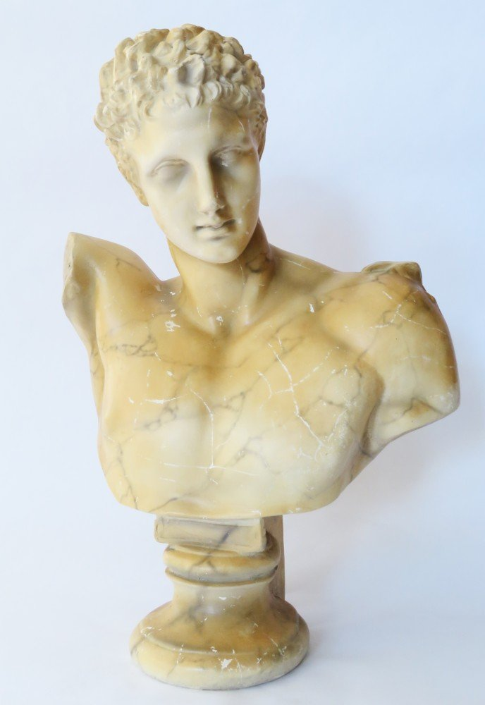 Classical Decorated Composition Bust of Hermes