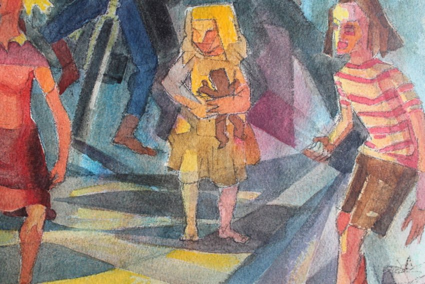 Figurative Watercolor on Paper Painting: