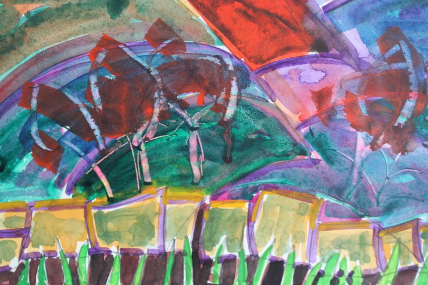 Abstract Landscape Watercolor on Paper Painting: