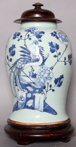 Chinese Porcelain Celadon and Blue and White Glazed jar