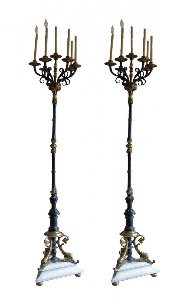 Pair of Seven-Light Wrought Iron Torcheres