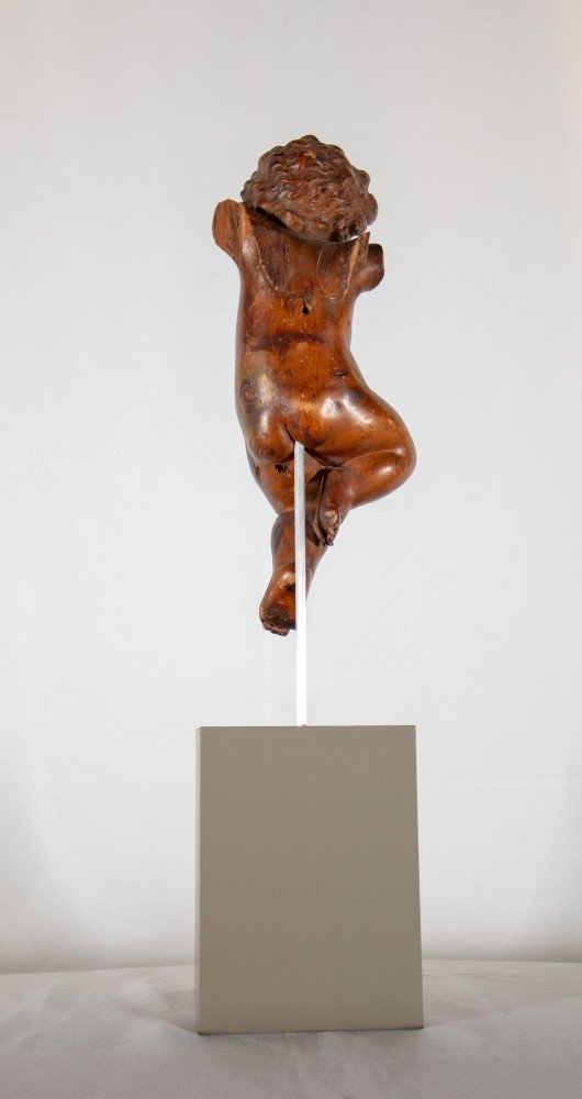 Figurative Carved Wood on Wooden Base Sculpture: