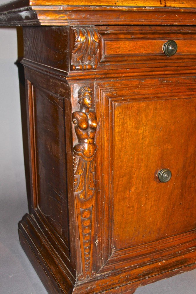 An Italian Walnut Credenza, Baroque Period