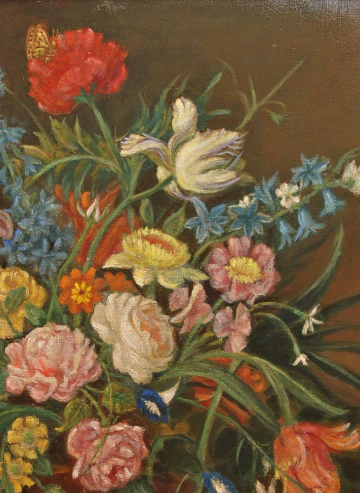 Still Life of Flowers in Dutch Style by J.V. Lebrune