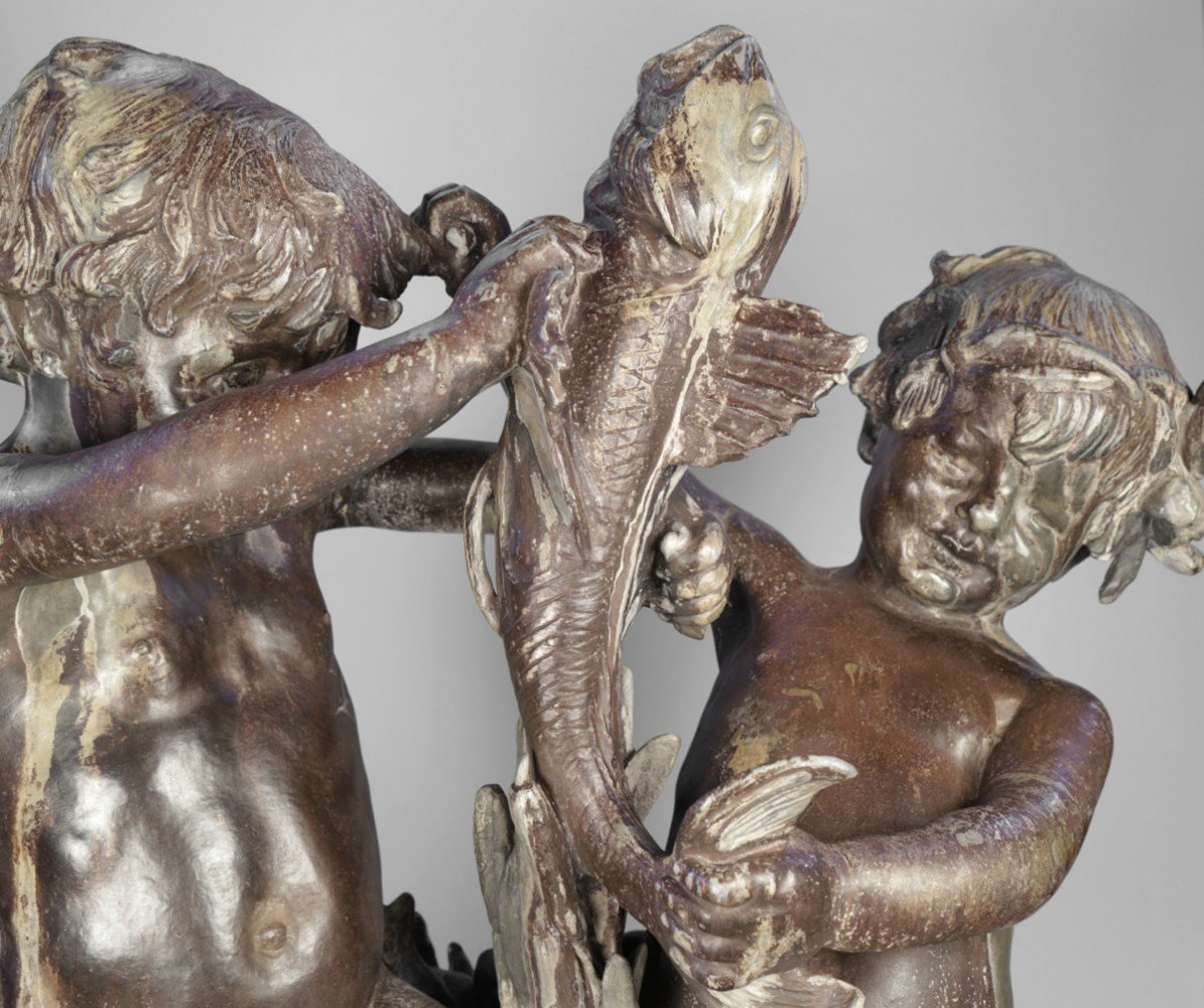 Alexis Rudier Paris Fondeur, Fighting Boys, a Large Scale Lead Fountain by Janet Scudder