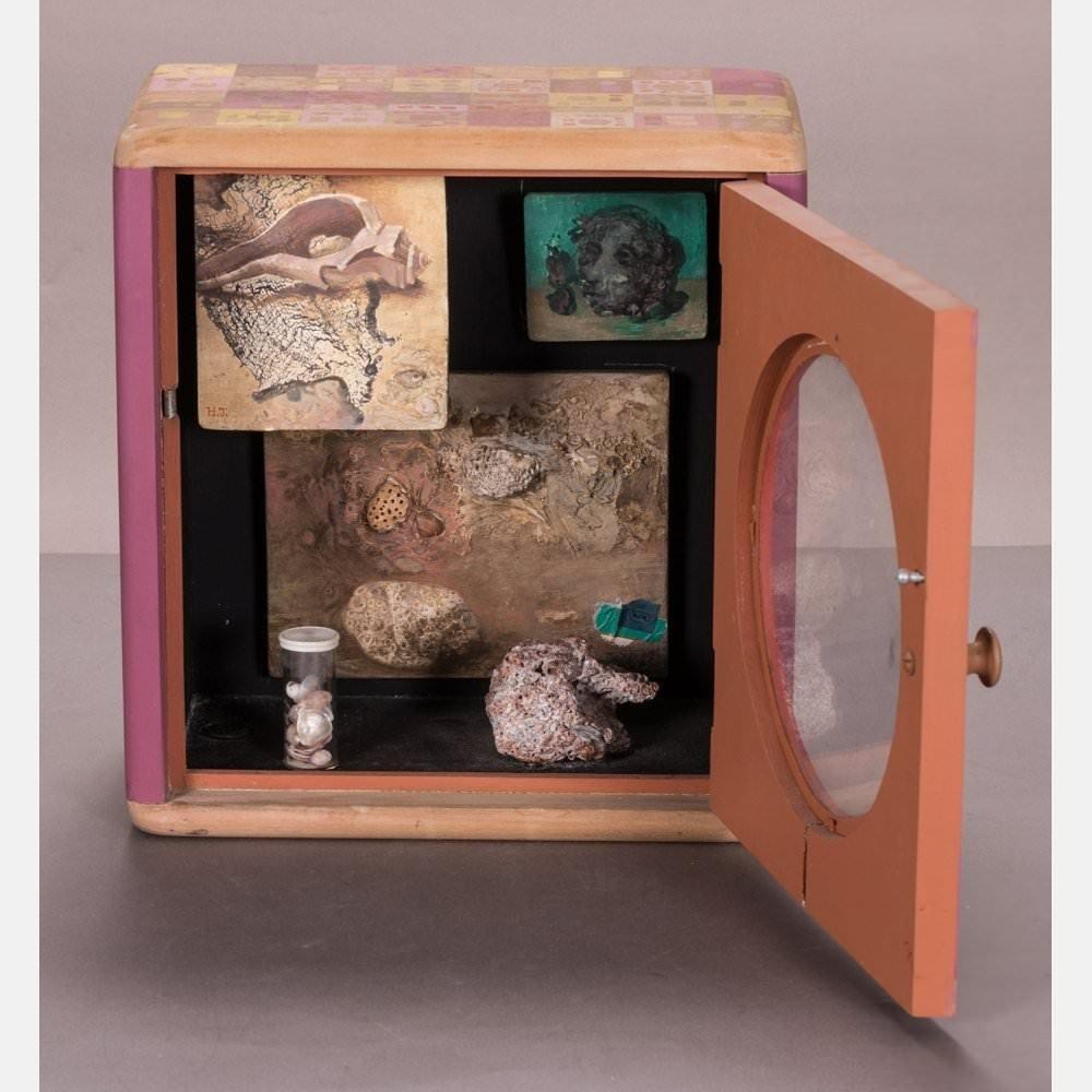 Tempera, Wood Cabinet and Mixed Media Decorative Art: