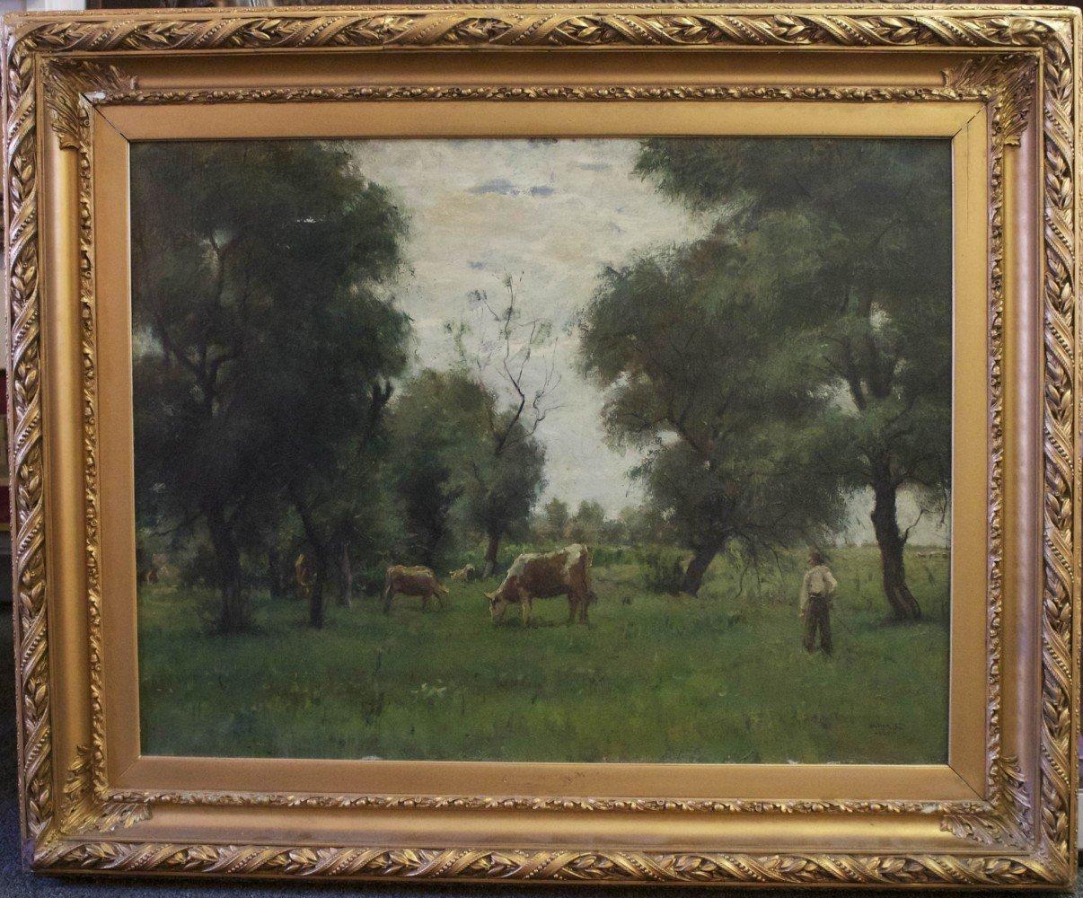 Cattle Grazing in a Spring Field by Janos Laszlo Aldor
