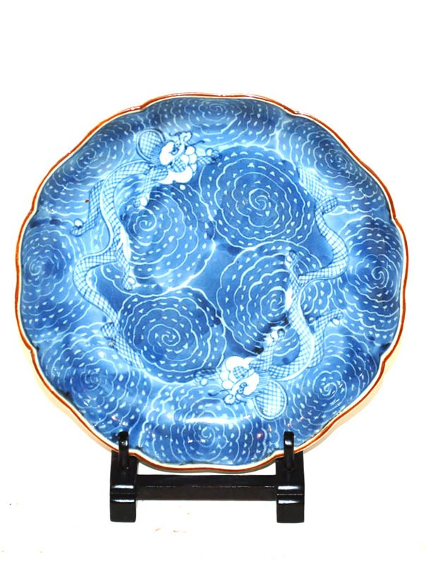A Japanese Blue and White Glaze Dish with Dragons in Clouds