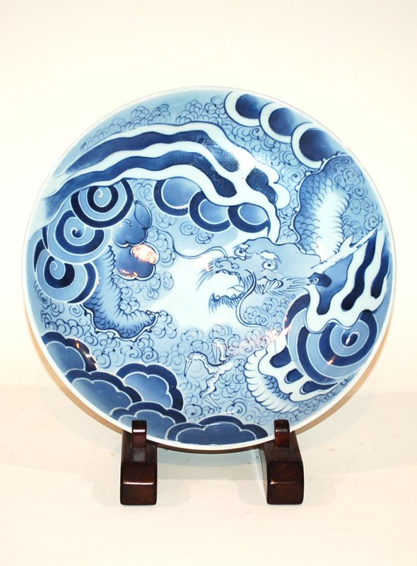 A Japanese Blue and Glaze Dragon Platter