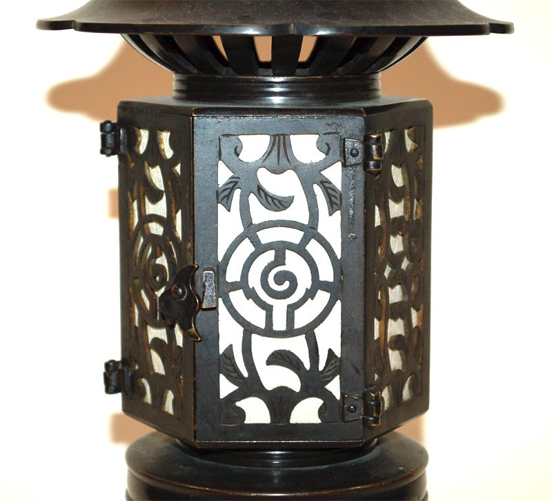 A Japanese Bronze Buddhist Bronze Temple Lantern