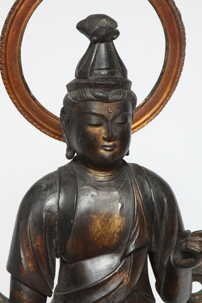 Japanese Gilt and Lacquer Carved Wood Kannon (Bodhisattva)