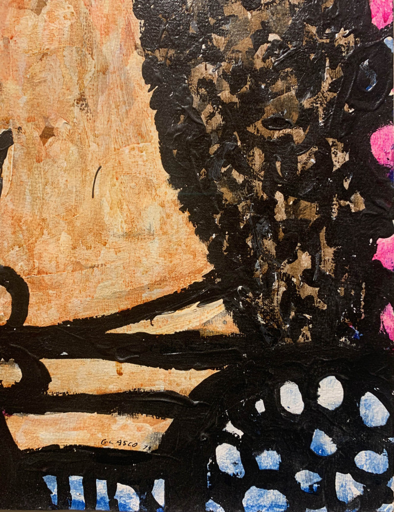 Figurative Acrylic on Paper Painting:
