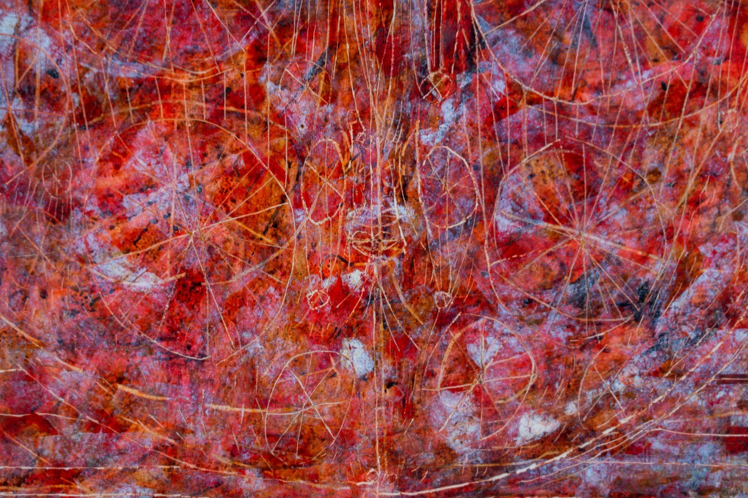 Abstract Figurative Encaustic and Sgraffito on Paper Painting: