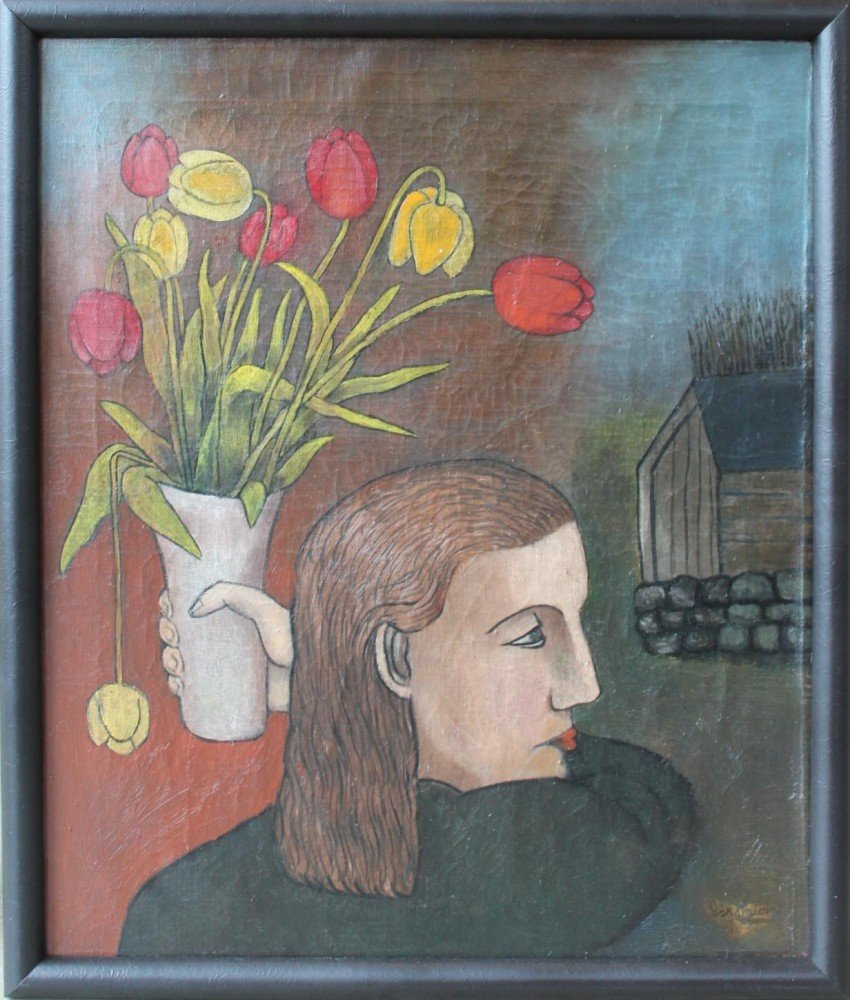 Girl with Vase of Tulips by Israel Kantor (called Iskantor)