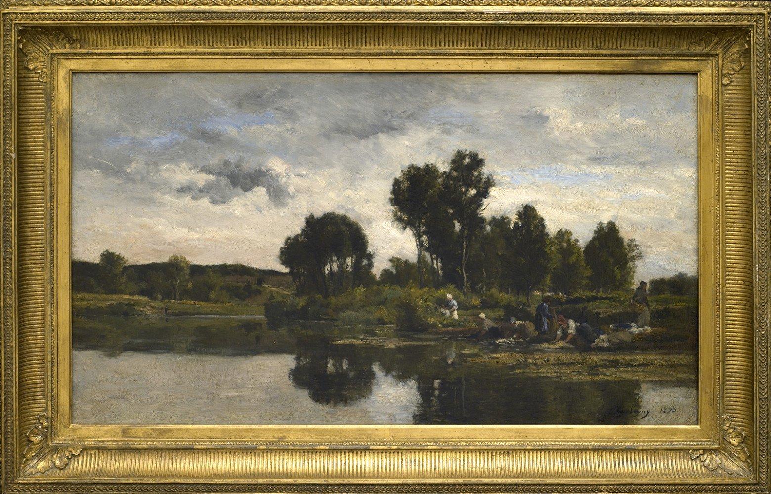 Les Lavandières au bords d'un ruisseau by Karl Pierre Daubigny