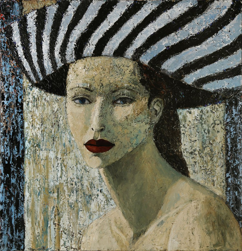 Woman with Striped Hat by Ken Nevadomi