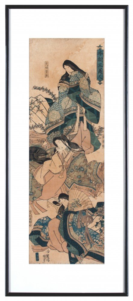 Two Japanese Woodblock Prints By Kunisada and Yeische