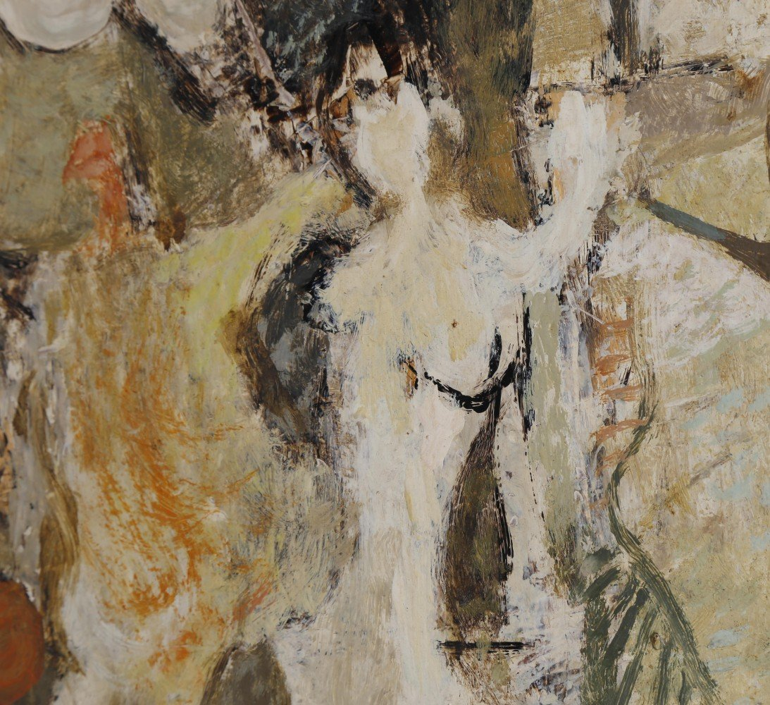 Abstract Figurative Oil on Masonite Painting: