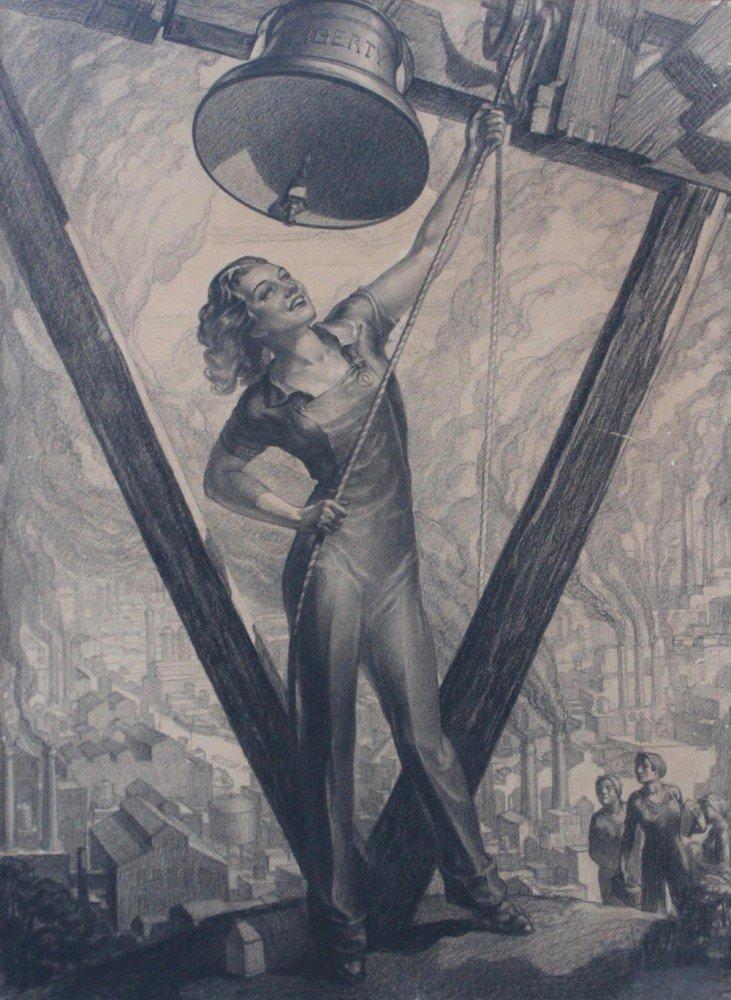 Lambert (American, 20thc.) American Workers, Liberty Bell, Industrial Scene