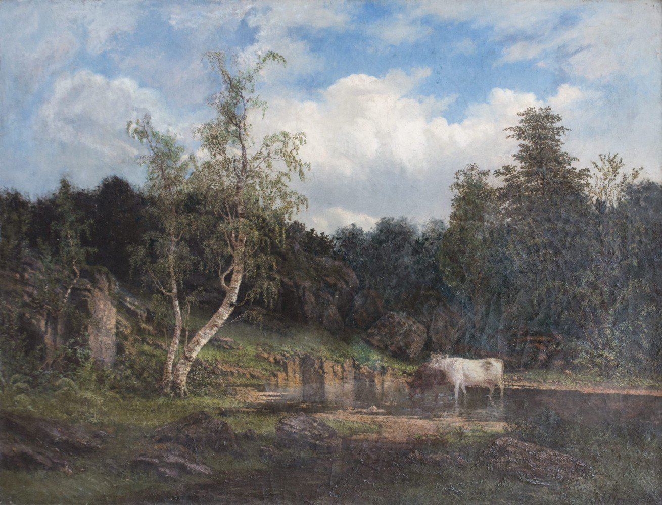 19th Century American Landscape with Cows