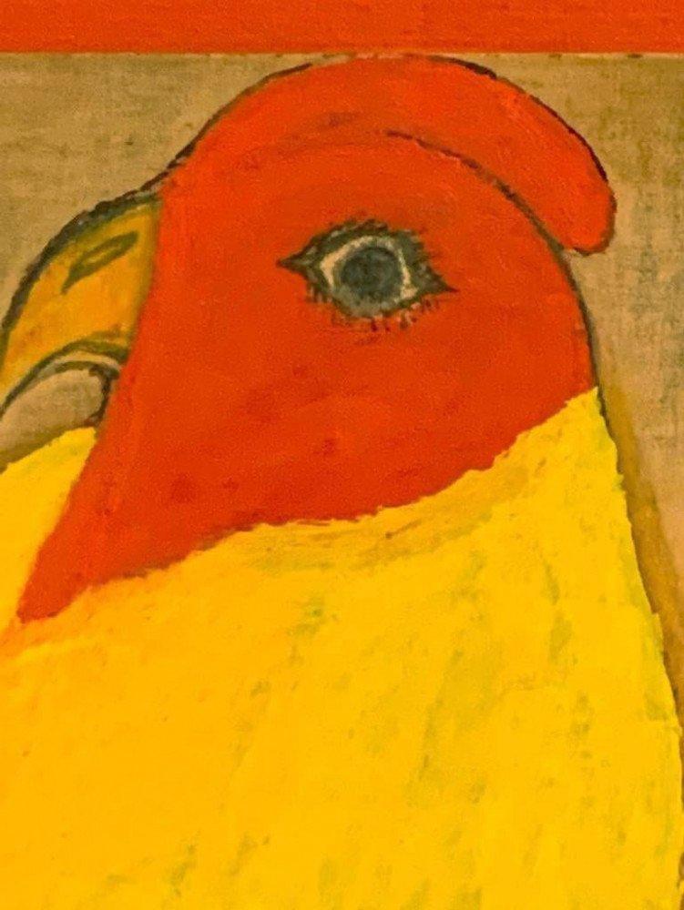 Animal Oil on Cardboard Painting: