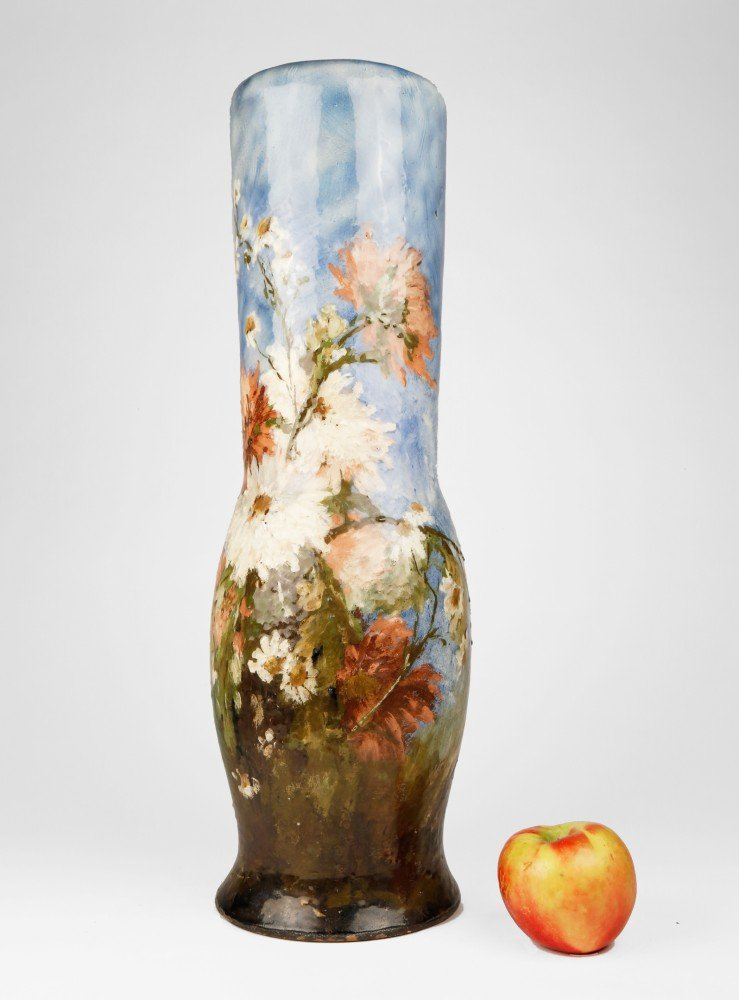 A French Limoges Polychrome Vase with Floral Motif, 19th Century