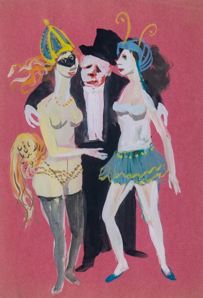 Figurative Gouache on Paper Painting:
