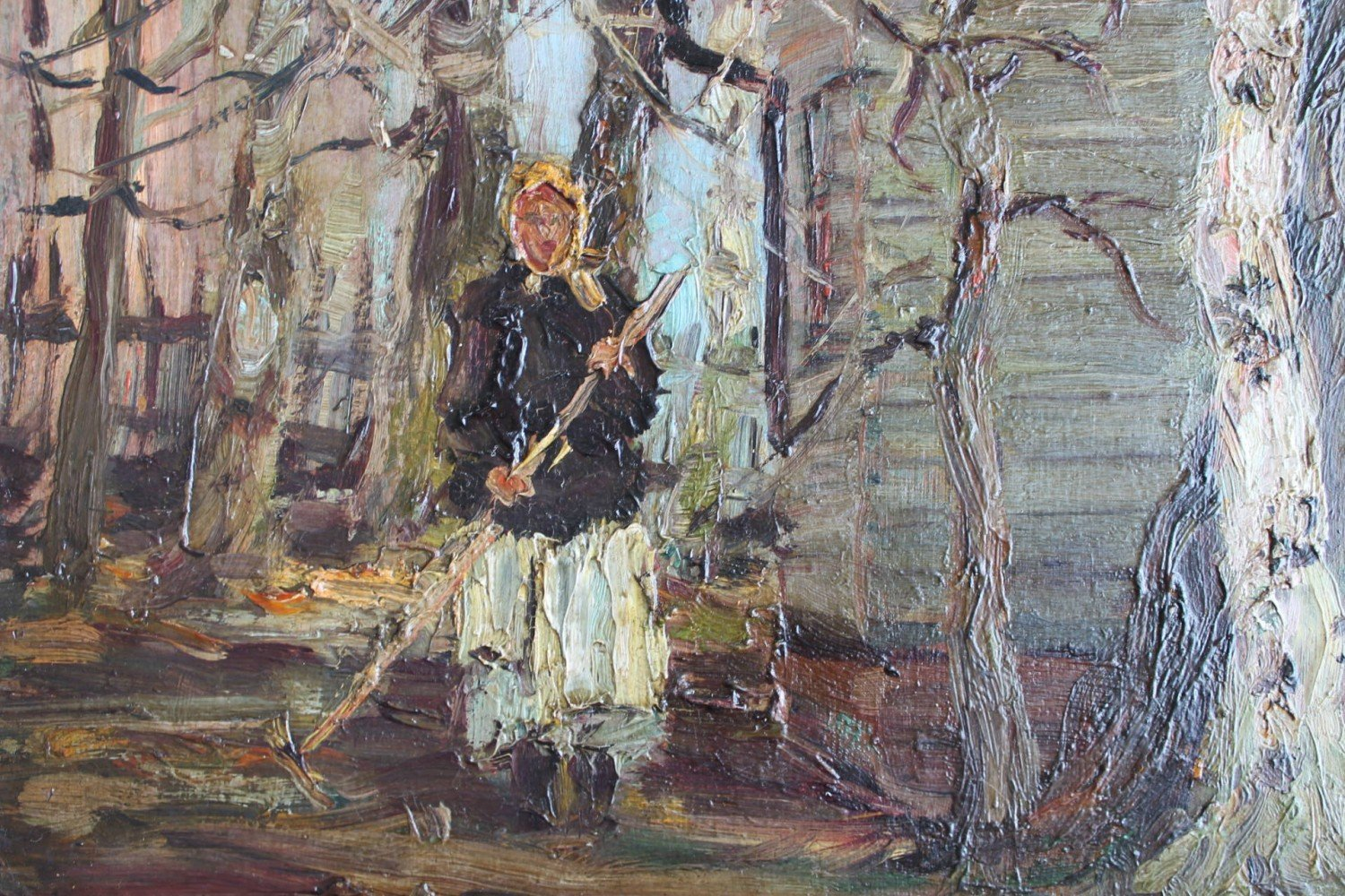 Woman Raking in a Yard with Church Spire and Dome by Louis Bosa