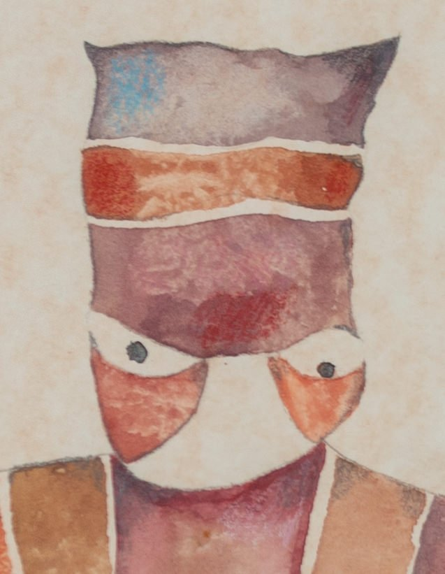 Figurative Abstract Watercolor on Age-Toned Paper Painting: