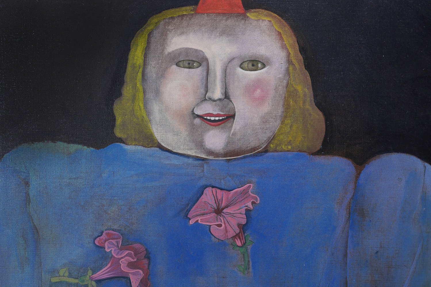 Girl Tossing Purple Petunias, 1982 - SOLD by Mary Spain