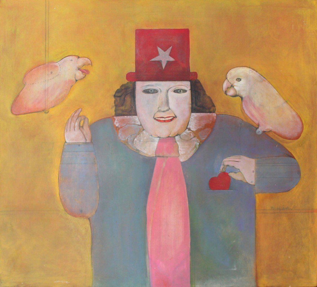 Magician and 2 White Parrots by Mary Spain