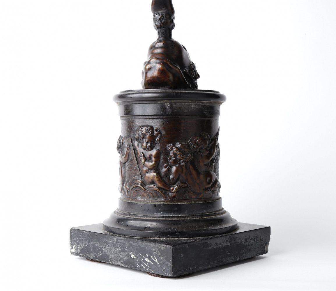 Figurative Bronze, on Bronze Base Statue: