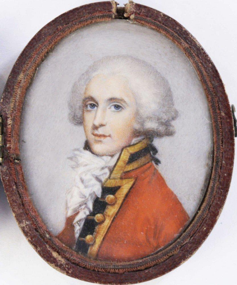 18thc. British School, Portrait Miniature of a Gentleman