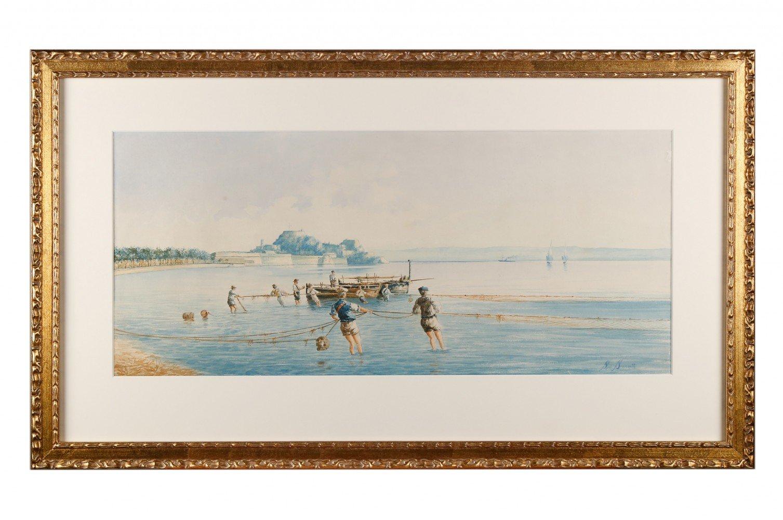 Neopolitan Fishing Scene by 19th Century Italian School