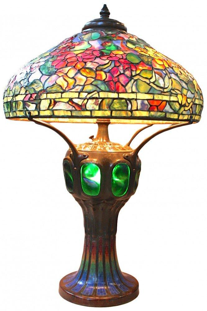 Tiffany Style Leaded Glass Nasturtium Lamp by Tiffany Studios