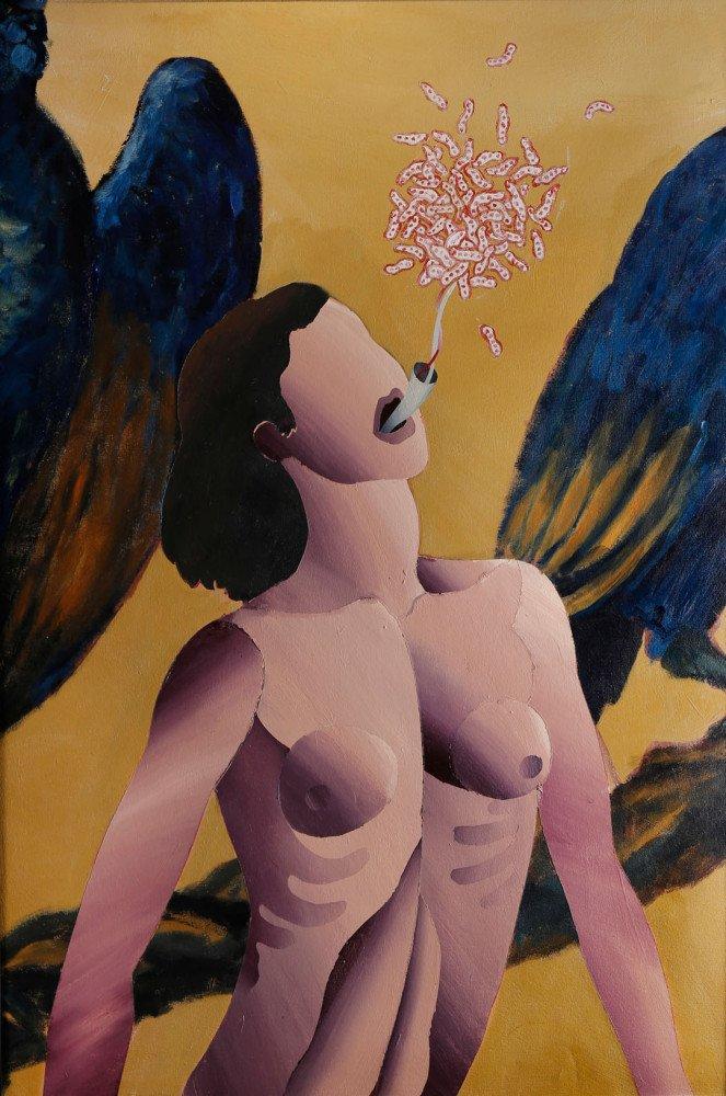 Woman with Birds by Ken Nevadomi