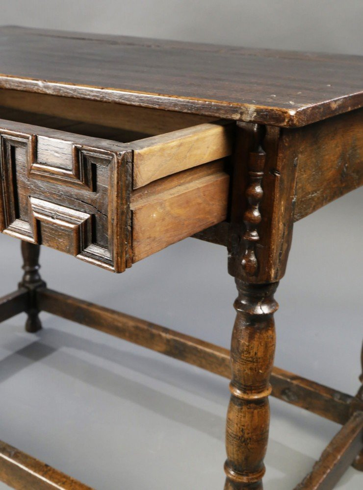 English Oak Writing Desk/ Side Table by 17th Century British