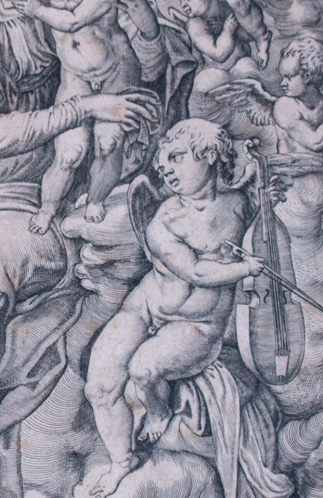 Old Master Print of Madonna after Raphael