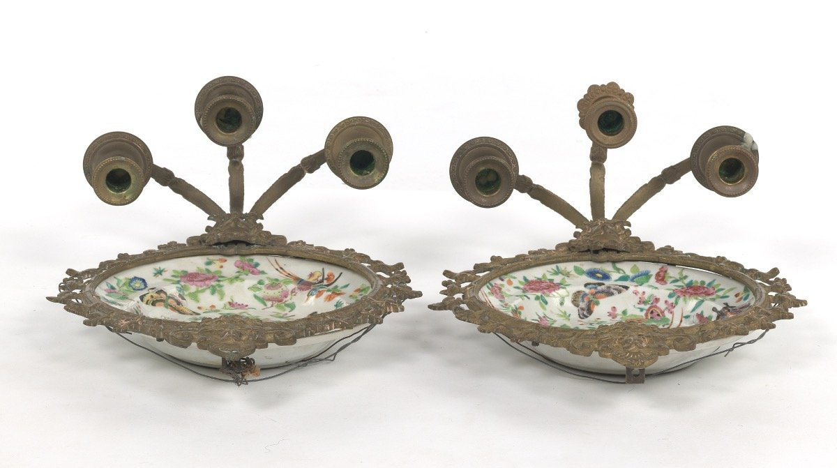 Pair of Ormolu Mounted Famille Rose Platters Designed as Wall Sconces