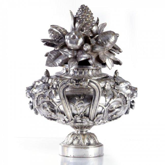 Ornate 19th Century Italian Silver Over Bronze Centerpiece