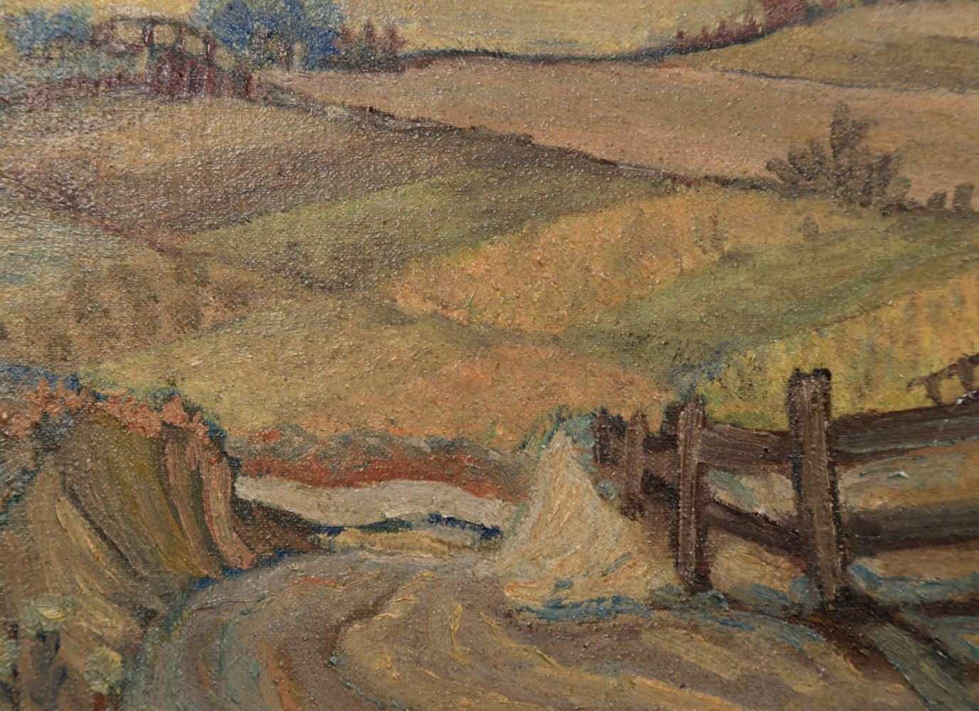 M.Ottens-Landscape Over a Farm with View to a Distant Mountain
