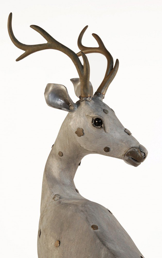 A Chinese Pewter Figure of a Deer by 19thc. Chinese School