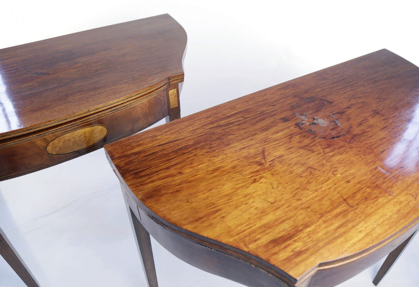 Pair of American 18th Century Matching Inlaid Hepplewhite Style Game Tables