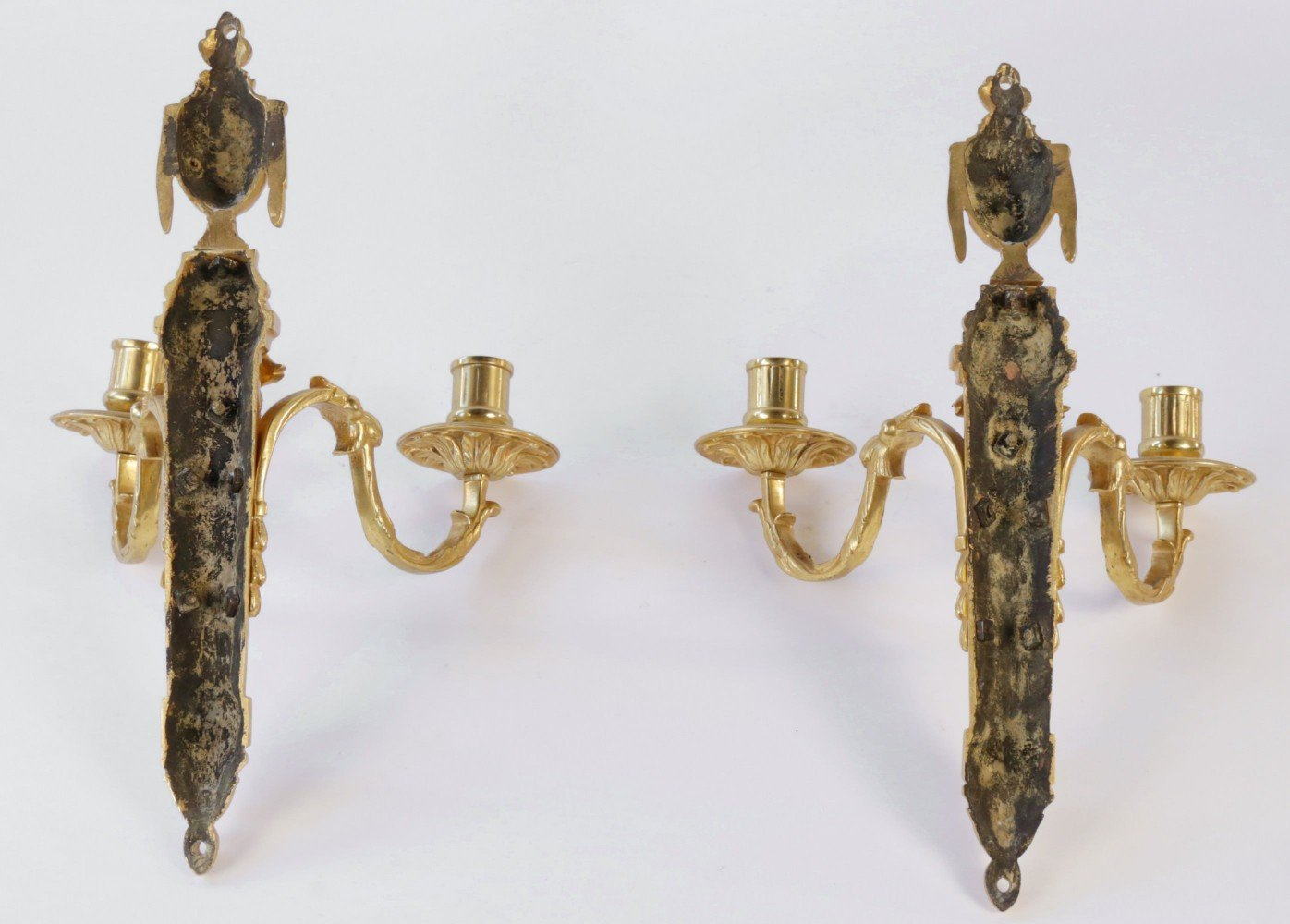 Pair Louis XVIth French Gilt Bronze Wall Sconces by 18th Century French School