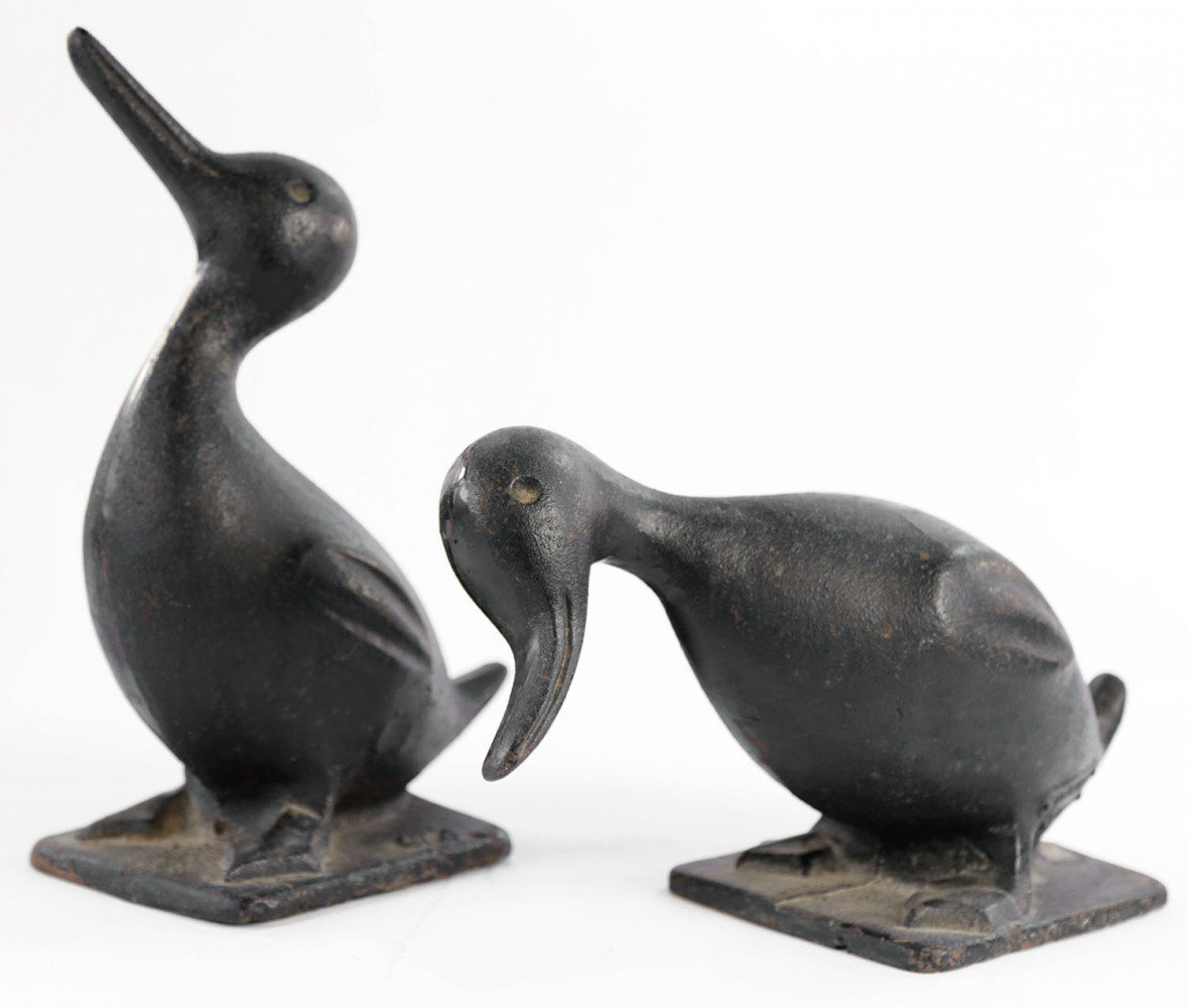 Pair Cast Iron Garden Ducks by 20thc. American School